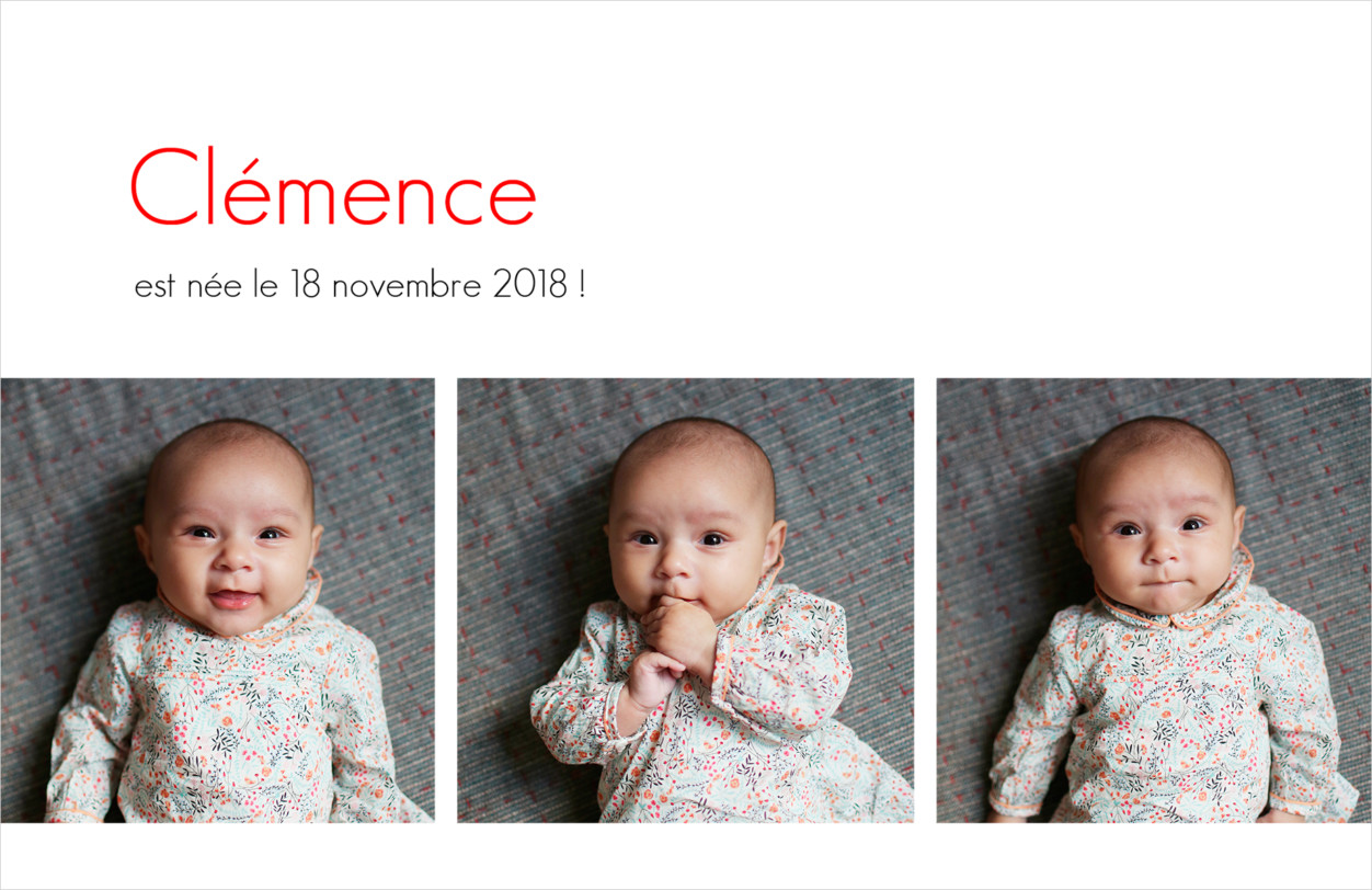 Idée de photo de faire-part naissance type photomaton